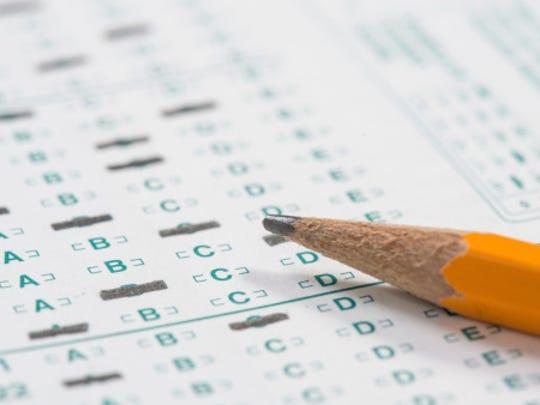 Pencil on standardized test sheet