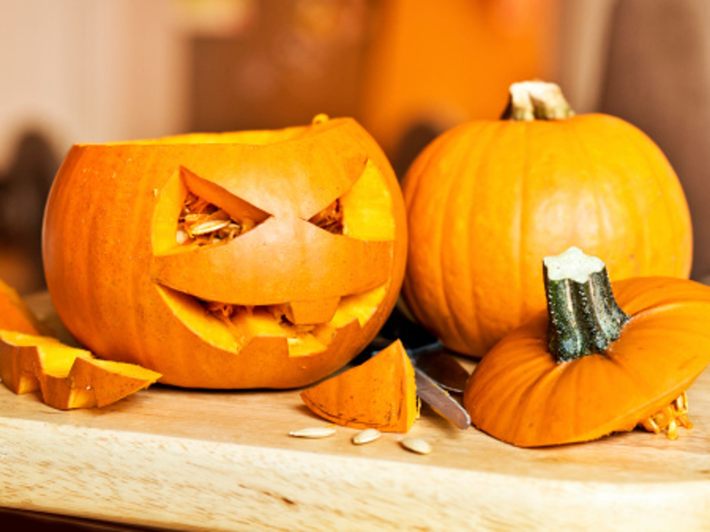Carve a pumpkin at Wood Library Teen Pumpkin Carving event.