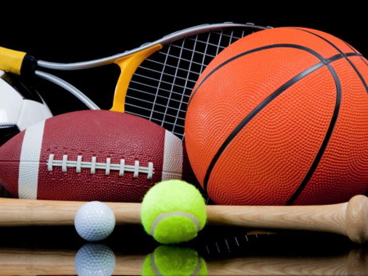 A stock image of assorted sports equipment.