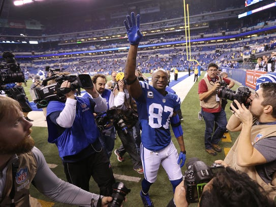 Indianapolis Colts wide receiver Reggie Wayne waves