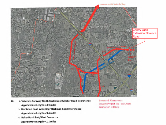 This map shows in red two proposed Interstate 24 interchanges for Murfreesboro to the southwest and Smyrna to the northeast off Baker Road. The proposed Murfreesboro plans for an I-24 interchange would connect to an extended Cherry Lane on the east side and Blackman Road on the west side.
