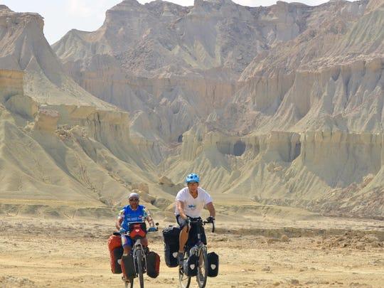 Mohammad Tajeran and Rick Gunn ride in the Tandis Valley on Queshm Island Iran, February 16th, 2014