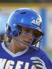 Angelo State's Bailey Wallace rounds third base during the Rambelles' game against Texas Woman's University at the 2017 LSC Softball Championship on Friday, May 05, 2017.