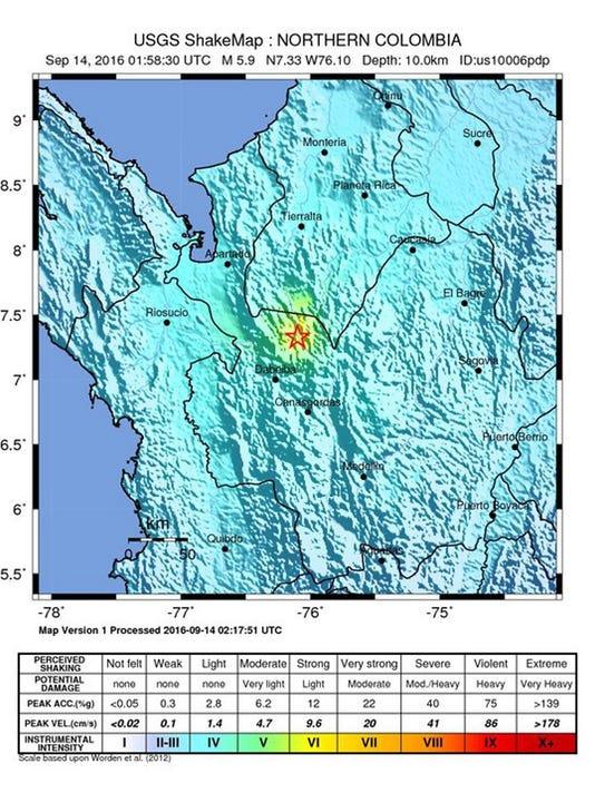 EPA COLOMBIA EARTHQUAKE DIS EARTHQUAKE COL