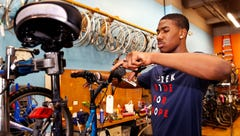 For Jacobi and others like him, working at DreamBikes is more than a job. It's restoration.