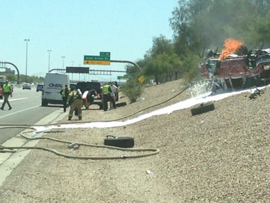 Vehicle Fire at SanTan Freeway and Alma School Road