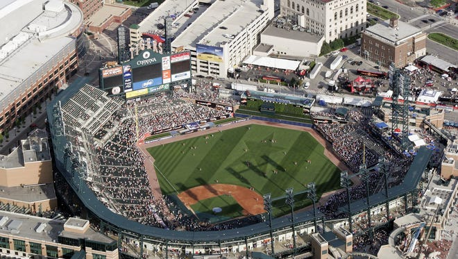 An aerial view of Comerica Park