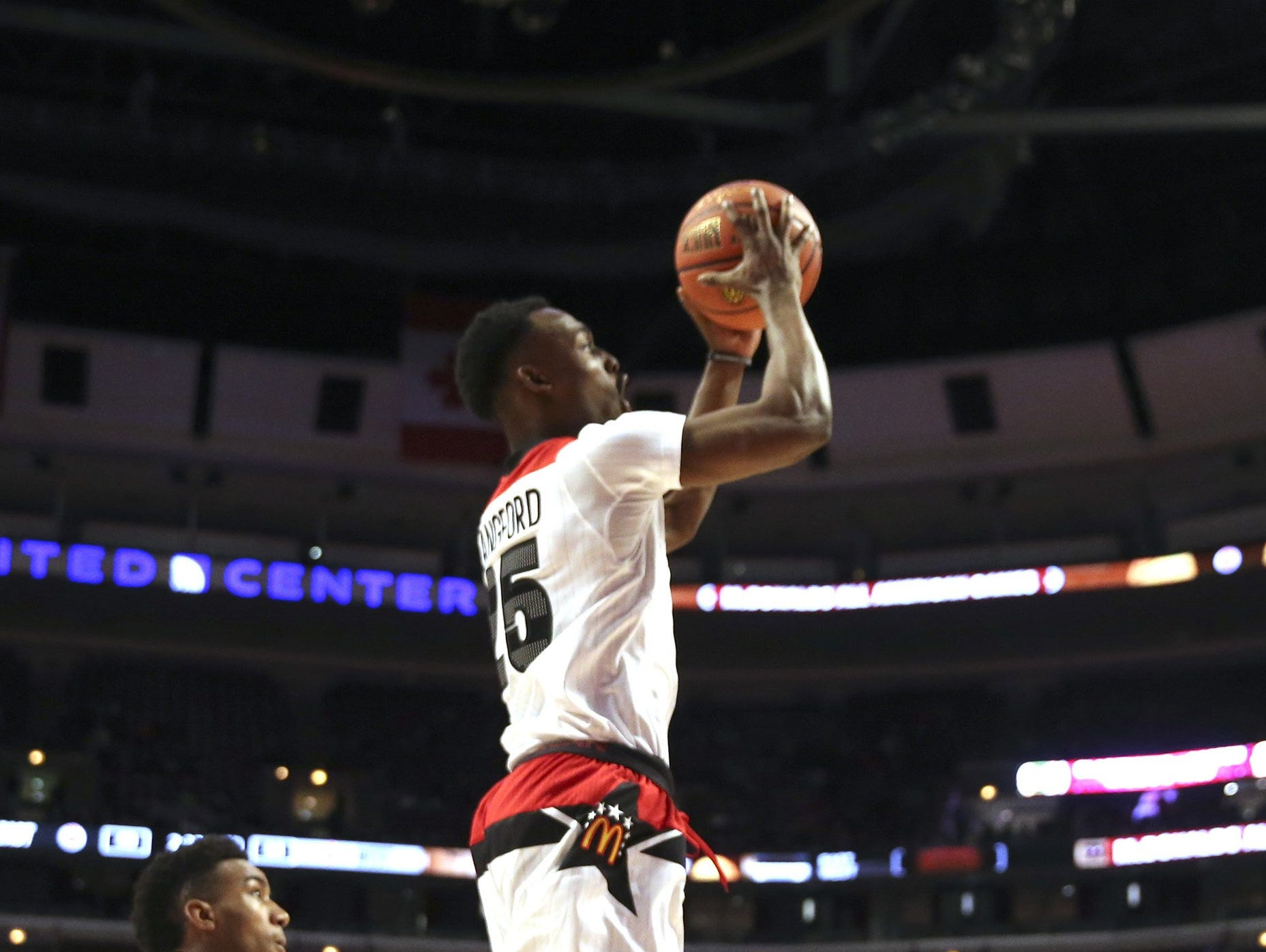The West's Joshua Langford (25) goes to the basket against Team East during the first half of the McDonald's Boys All American game at the United Center in Chicago on Wednesday, March 30, 2016.