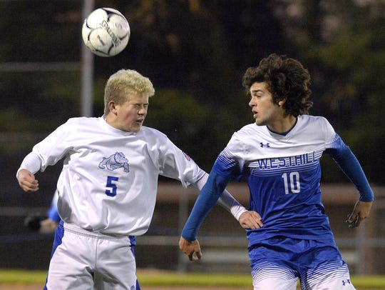 Livonia's Cullen Coons, left, shown in a state tournament match last fall, is one of the team's captains.