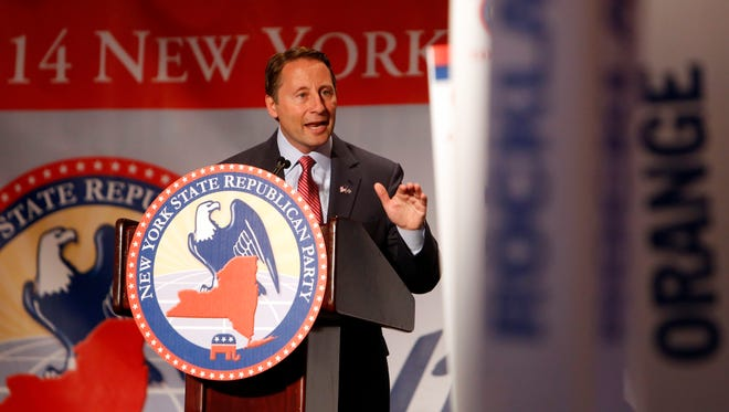 Westchester County Executive Rob Astorino accepts his nomination for governor at the GOP convention, May 154, 2014 at the Hilton in Rye Brook.