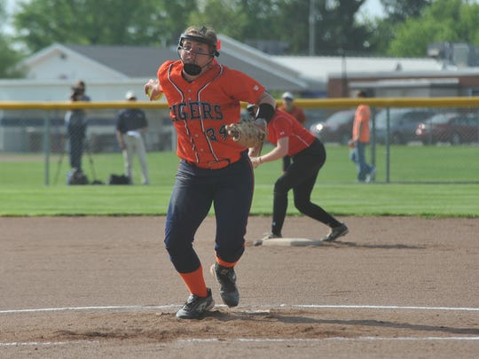 Madelyn Thomas pitches against Crestview in the district final.