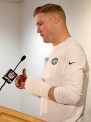 New York Jets quarterback Josh McCown speaks after an NFL football game against the , Sunday, Dec. 10, 2017, in Denver. The Broncos won 23-0. (AP Photo/Joe Mahoney)