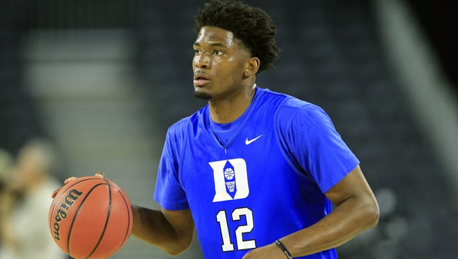 Duke Blue Devils forward Justise Winslow practices the at NRG Stadium.