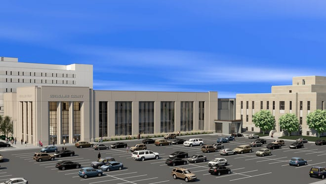 A rendering shows the exterior of the new Outagamie County downtown campus.