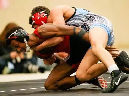 Union County's Saul Ervin wrestles PRP's Blake Evans.