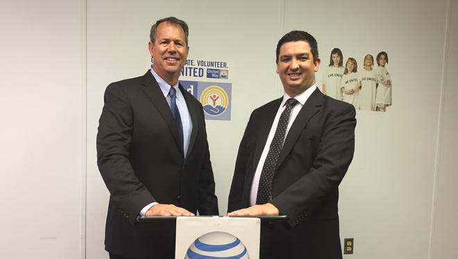 AT&T External Affairs Director Kevin Lynch visited United Way of Richland County Executive Director Dan Varn on Wednesday to announce AT&T invested nearly $950,000 in their wireless and wired networks in Richland, Crawford and Ashland counties in 2016, and made 20 wireless network upgrades in those counties through 2016 and 2017.