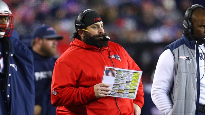 Patriots defensive coodinator Matt Patricia reacts in the second quarter of the AFC Divisional Playoff game against the Titans at Gillette Stadium on Jan. 13, 2018 in Foxborough, Mass.
