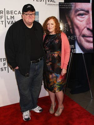 """Director Michael Moore and producer Kathleen Glynn attend the """"Zen Of Bennett"""" Special Screening during the 2012 Tribeca Film Festival at the Borough of Manhattan Community  College on April 23, 2012 in New York City."""