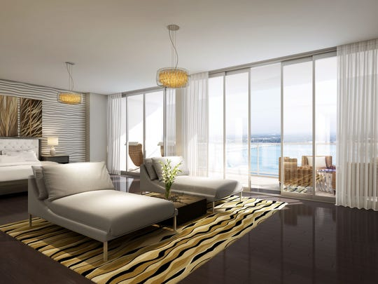 There are four floor plans at Allure ranging in size from 938 to 3,838 square feet under air. The smallest has one bedroom, the largest three bedrooms and a den.