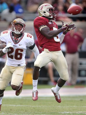 """Jesus """"BoBo"""" Wilson (3) had 101 receiving yards and a touchdown catch during Florida State's spring game."""