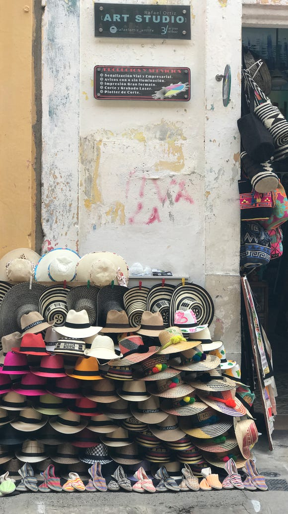 Small shops throughout Cartagena sell hats and other