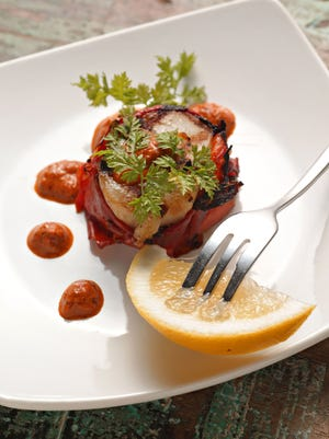 Red Pepper Wrapped Scallops, from James Jones of AJ's fine Foods featured in this years Holiday Ding Guide on Sept. 2, 2015 in Phoenix.