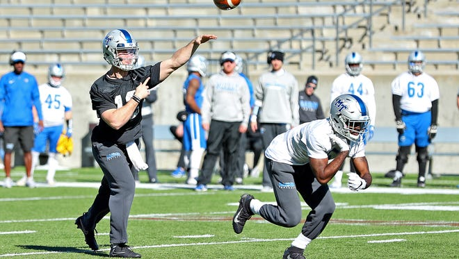 MTSU quarterback Brent Stockstill throws a pass during practice in Montgomery, Ala., on Dec. 13, 2017.
