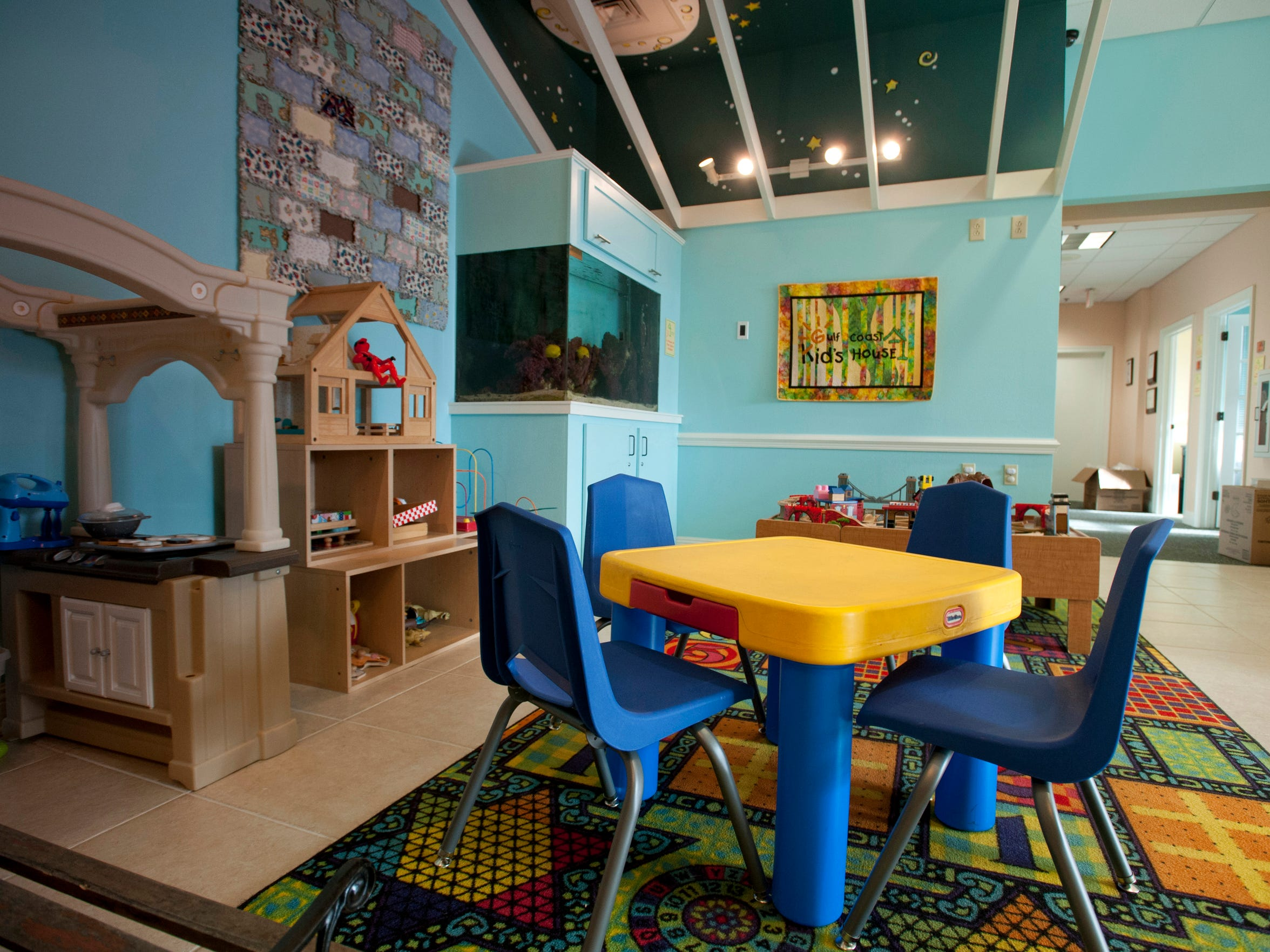 Geometric patterns and inviting colors decorate the Gulf Coast Kid's House.