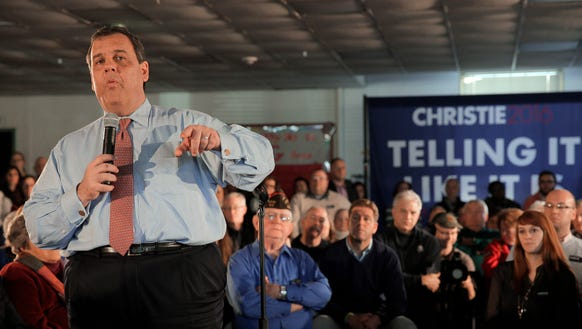 Chris Christie at a town hall meeting in Hampton, N.H.,