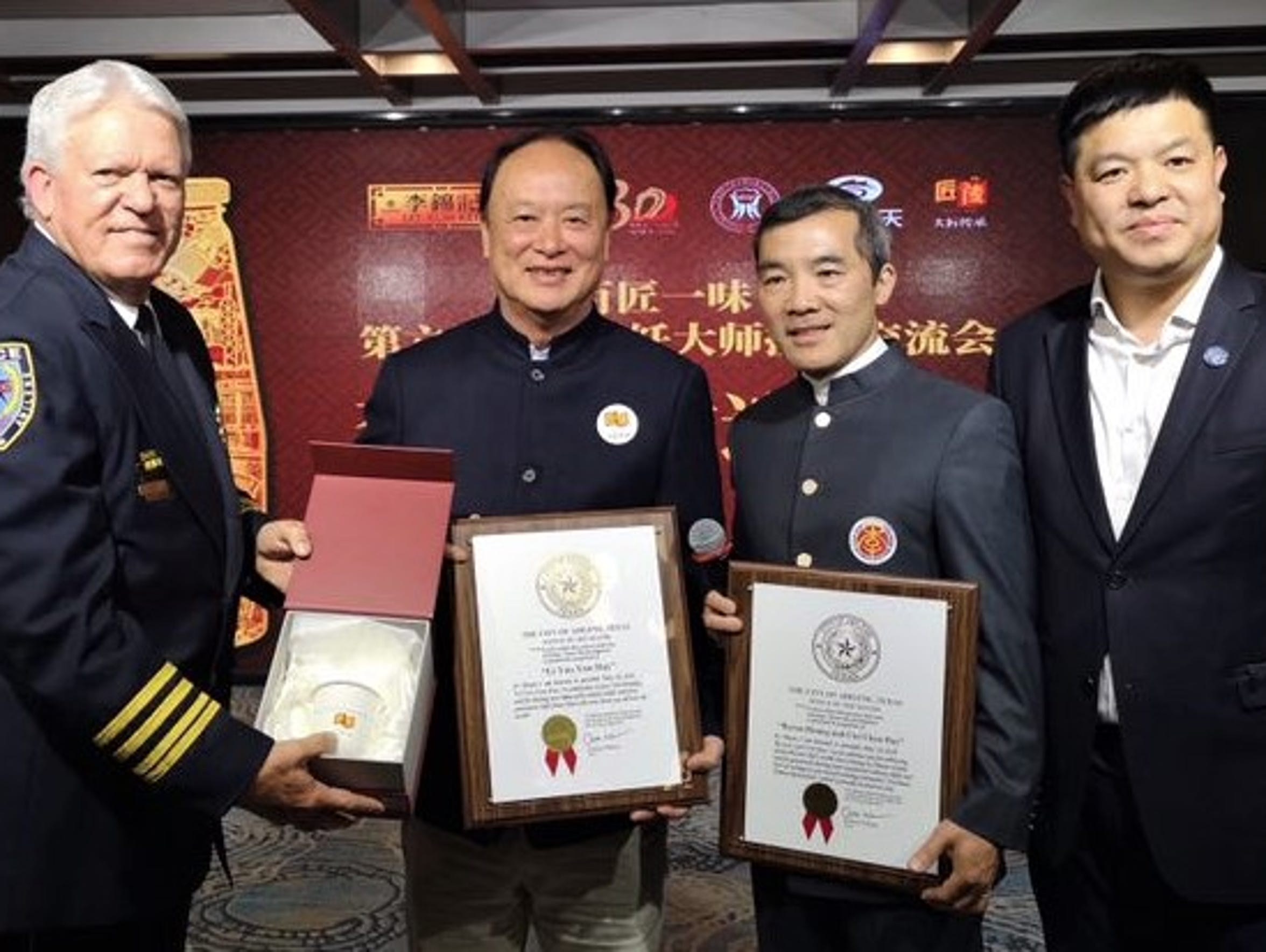 From left: Melvin Martin, Master Lee, Bryon Huang and