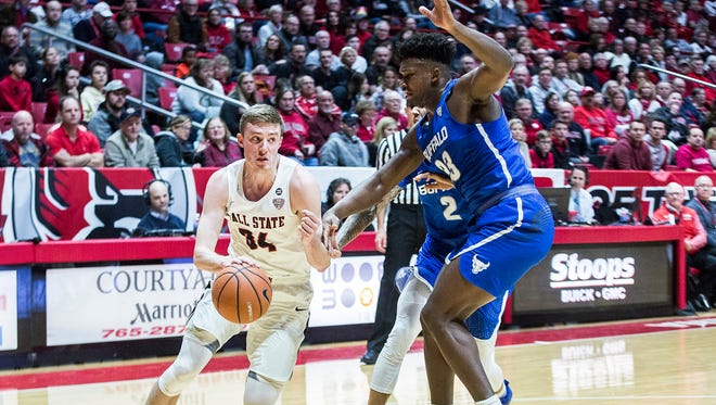 Ball State's Sean Sellers drives against Buffalo at Worthen Arena Saturday, Jan. 6, 2017.