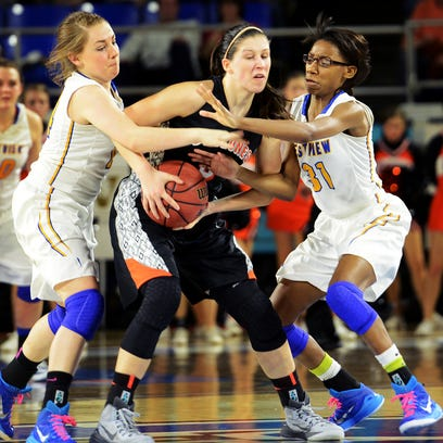 Westview's Heidi Craddock and Titi Vincent guard Elizabethton's