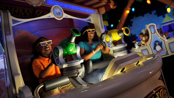 """The """"Toy Story Mania!"""" attraction at Disney's California Adventure in Anaheim, Calif., is a ride-through attraction combining the fun of a video game, 4-D technology and interaction with favorite Disney-Pixar stars."""