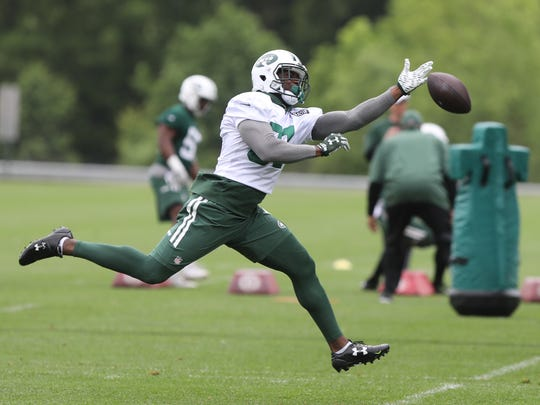 This pass intended for wide receiver Quincy Enunwa was overthrown during OTAs in May.