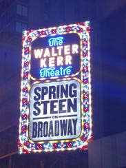 """The """"Springsteen on Broadway"""" marquee at the Walter"""