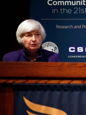 Federal Reserve Chair Janet Yellen delivers opening remarks during a community banking conference Wednesday, Oct. 4, 2017, at the Federal Reserve Bank of St. Louis.