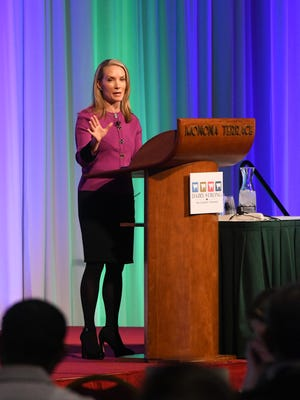 "Dana Perino, former press secretary to President George W. Bush and co-host of Fox News Channel's ""The Five"" addresses the audience at DBA Diary Strong 2017, Monona Terrace, Madison."