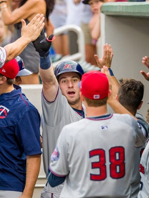 Brent Rooker, first-round draft pick by the Minnesota Twins, celebrates hitting a grand slam Aug. 5 for the Fort Myers Miracle.