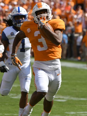 Tennessee running back Ty Chandler returns the opening kickoff for a touchdown  against Indiana State Saturday, Sep. 9, 2017 at Neyland Stadium in Knoxville, Tenn.