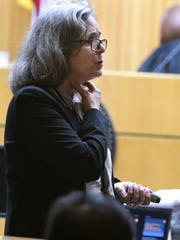 Knox County Assistant District Attorney Leslie Nassios tells the jury about scissor wounds during her opening statement Tuesday, Sep. 12, 2017 during the second murder trial of Norman Eugene Clark. Clark is accused of killing his girlfriend, Brittany Eldridge, and their unborn son.  The trial is in Knox County Criminal Court before Judge Steven Sword.