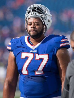 Oct 22, 2017; Orchard Park, NY, USA; Buffalo Bills offensive tackle Cordy Glenn (77) goes to the locker room up prior to a game against the Tampa Bay Buccaneers at New Era Field. Mandatory Credit: Mark Konezny-USA TODAY Sports