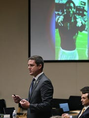 Knox County Deputy District Attorney Kyle Hixson during his opening statements during the rape trial of A.J. Johnson and Michael Williams Monday, July 23, 2018. They are accused of raping a female athlete.