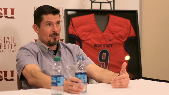 "Former CIA security contractor Kris ""Tanto"" Paronto answers questions during a press conference Monday at Dixie State University."