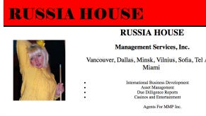 """Russia House"" webpage, which appears on Brad Cates personal website."
