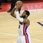 Pistons center Andre Drummond misses a free throw during the third period of Game 4 against the Cavaliers at the Palace.