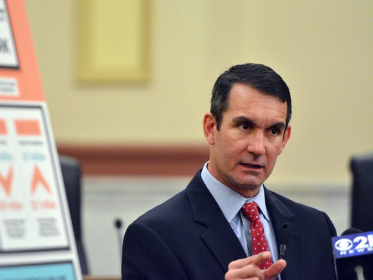 In this file photo, Auditor General Eugene DePasquale outlines the findings of an audit of the York City School District, Thursday, April 20, 2017. John A. Pavoncello photo