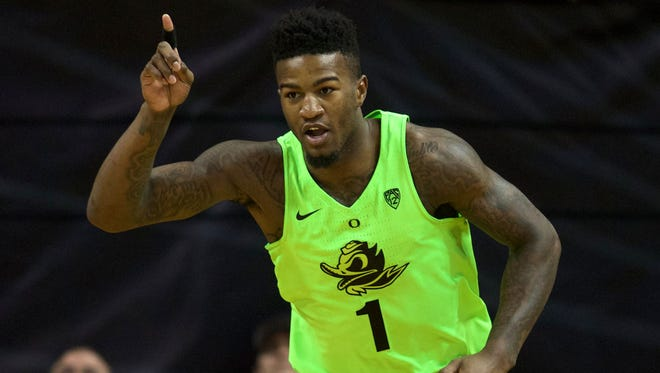 Oregon Ducks forward Jordan Bell (1) celebrates after dunking the ball in the first half against the Utah Utes at Matthew Knight Arena.