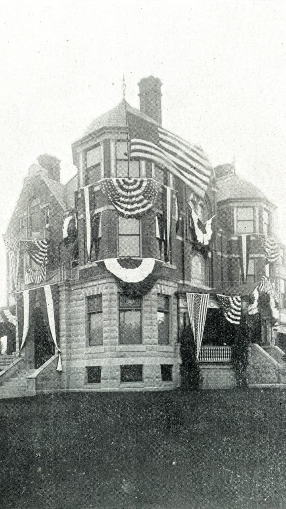 The residence of D.F. Lafean stands across from the Helb mansion - on the northwest corner of Market Street and Richland Avenue in 1899. A parking lot covers its footprint today, in 2016.