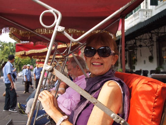 Yvonne in her cyclo, Hanoi's fun way to see the city.