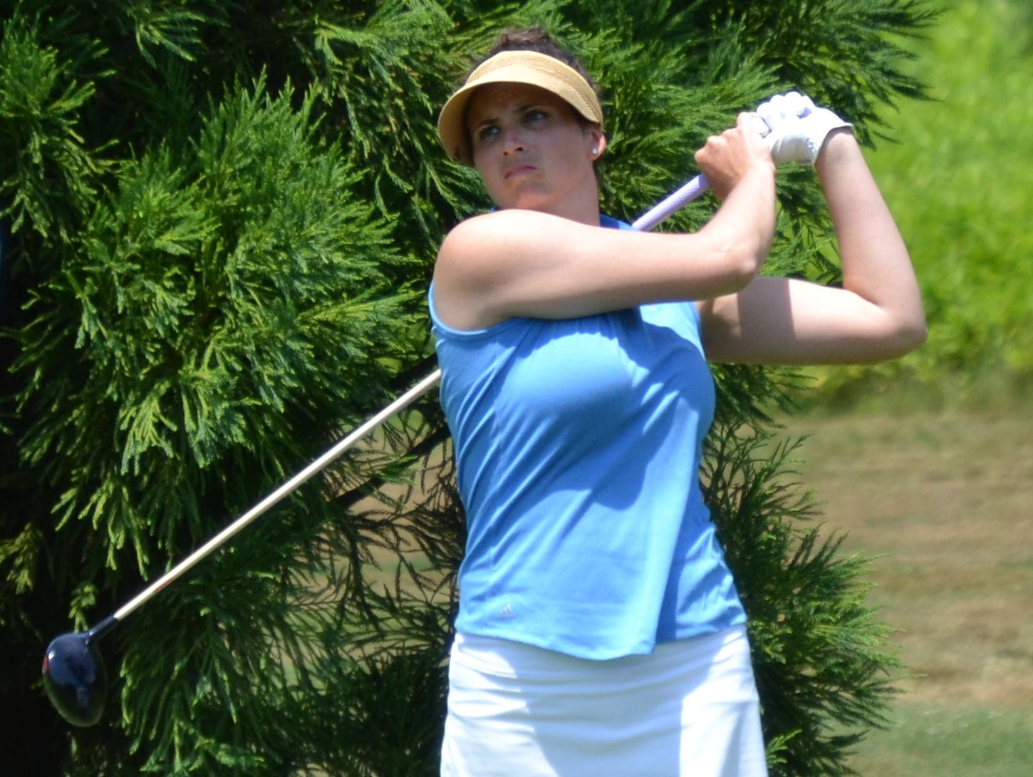 Golf Club of Purchase assistant Renee Skidmore tees off at the 15th hole at Willow Ridge Country Club during the final round of the Lincoln Women's Met Open Championship on Tuesday.